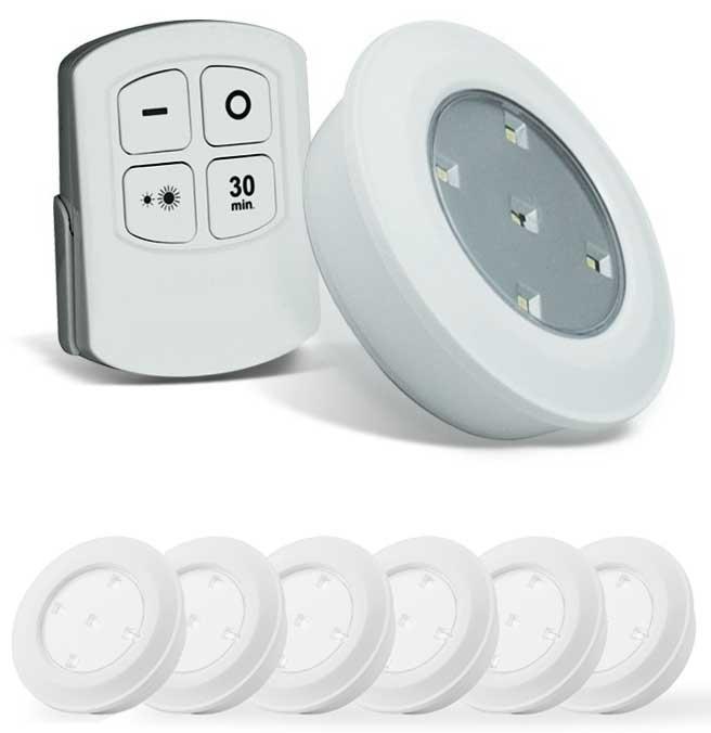 bestel 6 draadloze led spots met afstandsbediening en touch twv 6000 nu voor 1499