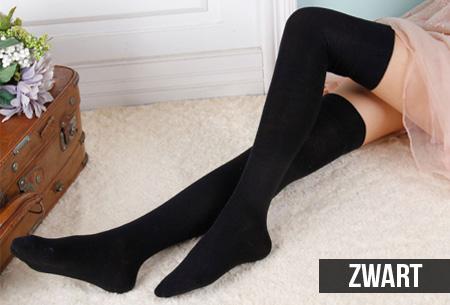 Lange Overknee sokken van 100% katoen | 2 paar nu slechts €8,95