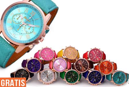 Geneva Color horloge met Romeinse cijfers t.w.v. €34,95 nu GRATIS