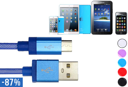 Metal look USB oplaadkabel nu slechts €4,95!