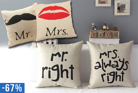 Mr. & Mrs. sierkussenslopen 2 stuks nu slechts €9,95!