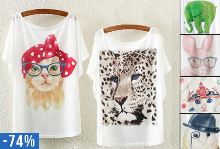 T-shirt met leuke dierenprint nu maar €8,95
