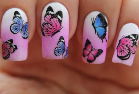 Nail art nagelset | 4 vellen vlinder nagelstickers & een set van 15 nagel kwastjes