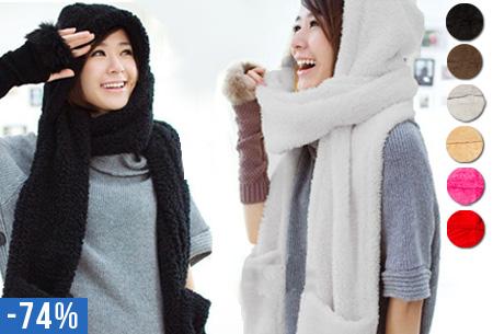 Sjaal-muts-handschoenen in één! 3-in-1 fluffy winter accessoire