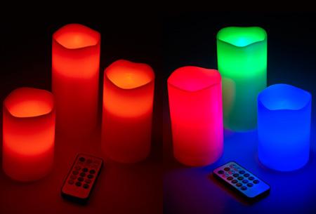 LED kaarsen met afstandsbediening 3 stuks nu al vanaf €8,95! Keuze uit standaard of 'color changing' licht