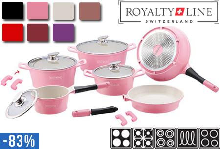 Royalty Line Switzerland luxe 14-delige keramische pannenset t.w.v. €599,00 nu slechts €99,95! Keuze uit diverse kleuren