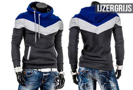 Tricolor heren sweater | Met comfy fleece binnenzijde