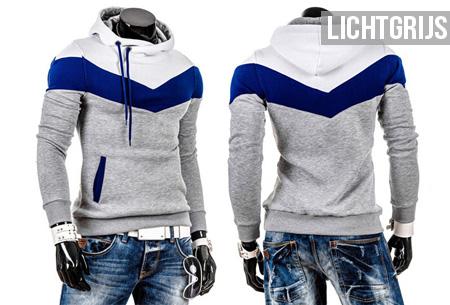 Tricolor heren sweater   Met comfy fleece binnenzijde