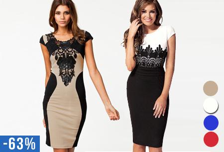 Feestelijke jurk met kanten details nu slechts €14,95 | Met afslankende contouren!