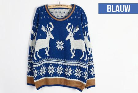 Gebreide dames kersttrui met rendieren en kerststerren nu slechts €14,95!