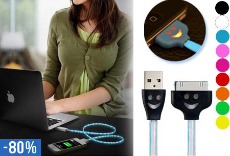 Smiley LED verlichte platte USB kabel nu 1 + 1 gratis voor slechts €5,95!