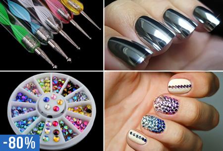 Nail Art glamour nagelset nu slechts €5,95 | 5x nagelpennen, nagelstickers en decoratiesteentjes