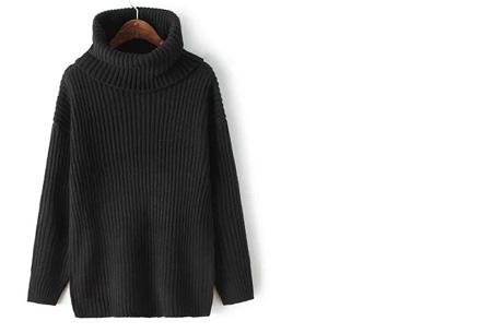 Gebreide coltrui nu €32,50 | Heerlijk warme trui van topkwaliteit! Zwart