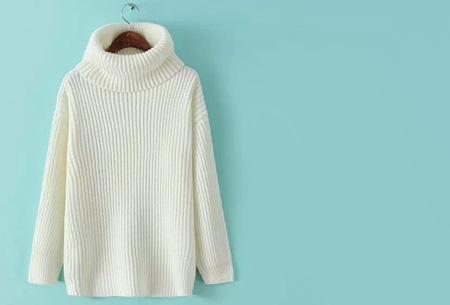 Gebreide coltrui nu €32,50 | Heerlijk warme trui van topkwaliteit! Wit