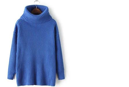 Gebreide coltrui nu €32,50 | Heerlijk warme trui van topkwaliteit! Blauw