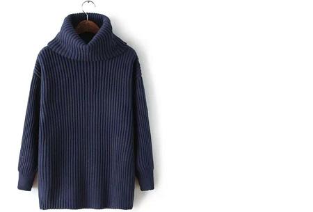 Gebreide coltrui nu €32,50 | Heerlijk warme trui van topkwaliteit! Donkerblauw