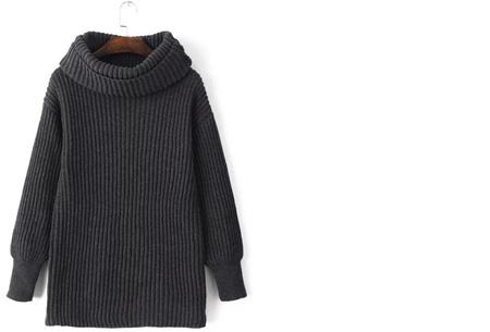 Gebreide coltrui nu €32,50 | Heerlijk warme trui van topkwaliteit! Grijs