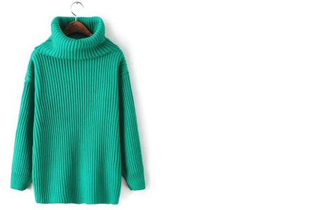Gebreide coltrui nu €32,50 | Heerlijk warme trui van topkwaliteit! Turquoise