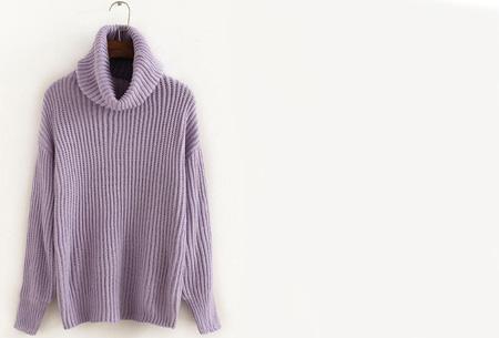 Gebreide coltrui nu €32,50 | Heerlijk warme trui van topkwaliteit! Lila