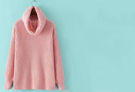 Gebreide coltrui nu €32,50 | Heerlijk warme trui van topkwaliteit! Roze