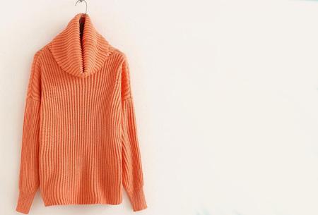 Gebreide coltrui nu €32,50 | Heerlijk warme trui van topkwaliteit! Oranje