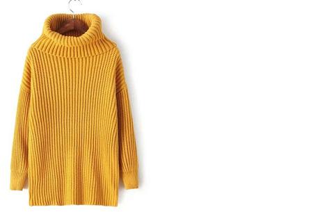 Gebreide coltrui nu €32,50 | Heerlijk warme trui van topkwaliteit! Geel
