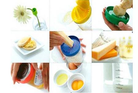 8-in-1 keukenfles nu €9,95 | 8 onmisbare keukenhulpen zoals een citruspers, rasp en maatbeker in één fles!