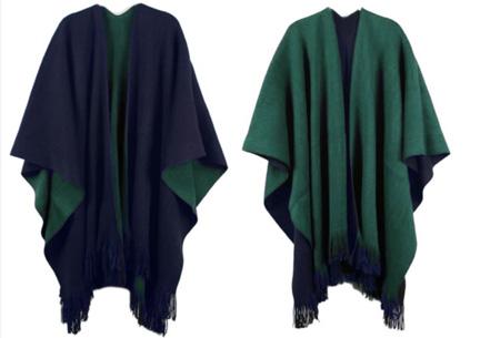 Multifunctionele poncho nu slechts €19,95 | Draag als vest, jas, sjaal of omslagdoek! groen/blauw