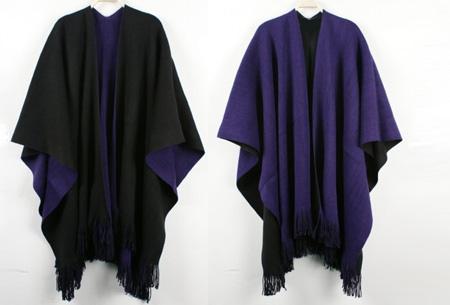 Multifunctionele poncho nu slechts €19,95 | Draag als vest, jas, sjaal of omslagdoek! paars/zwart