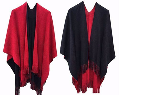 Multifunctionele poncho nu slechts €19,95 | Draag als vest, jas, sjaal of omslagdoek! rood/zwart