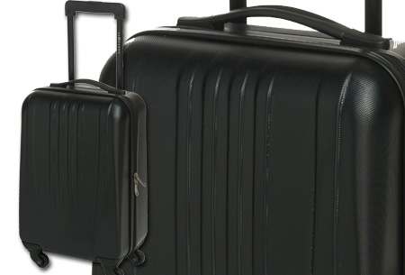 Handbagage koffer + voucher voor twee Europese retour vliegtickets nu slechts €54,95! zwart