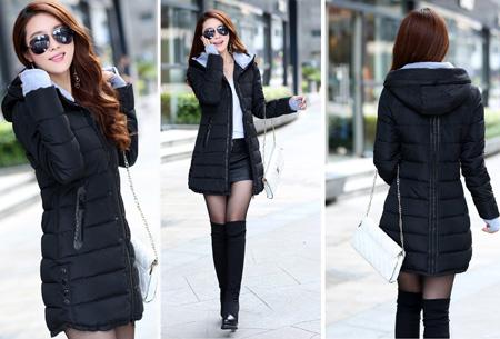 Lange gewatteerde winterjas | Shop hem nu in de sale Zwart
