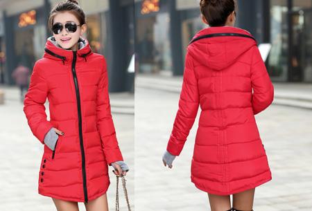 Lange gewatteerde winterjas | Shop hem nu in de sale Rood