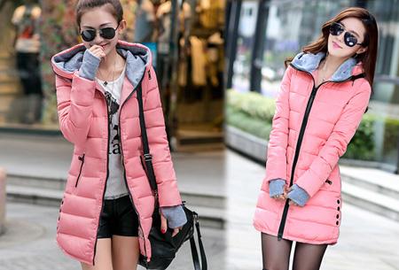 Lange gewatteerde winterjas | Shop hem nu in de sale Lichtroze
