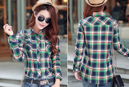 Geruite blouse met heerlijk warme fleece voering nu slechts €24,95 | Hip & comfortabel! #6 blauw/groen