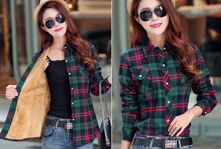Geruite blouse met heerlijk warme fleece voering nu slechts €24,95 | Hip & comfortabel! #5 groen/rood