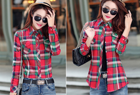 Geruite blouse met heerlijk warme fleece voering nu slechts €24,95 | Hip & comfortabel! #2 rood/groen