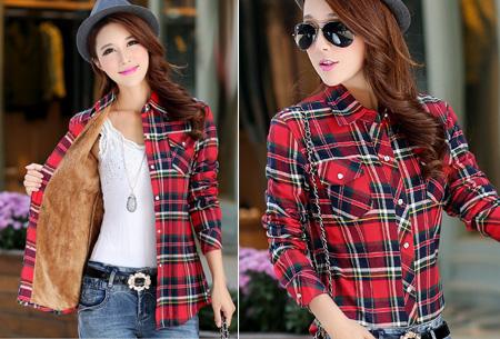 Geruite blouse met heerlijk warme fleece voering nu slechts €24,95 | Hip & comfortabel! #3 rood/wit