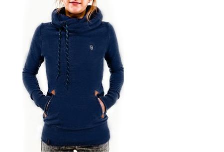 Sweater met col en fleece binnenzijde nu slechts €19,95 | Comfy musthave! donkerblauw