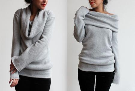 Off shoulder trui nu slechts €13,95 | Comfortabel met een sexy touch! Lichtgrijs