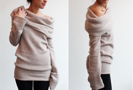 Off shoulder trui nu slechts €13,95 | Comfortabel met een sexy touch! Taupe