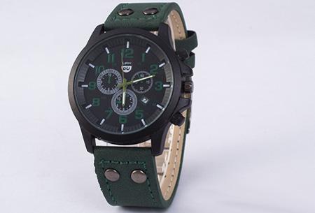 Lederen herenhorloge nu slechts €8,95! | Stijlvol en stoer! groen
