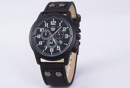 Lederen herenhorloge nu slechts €8,95! | Stijlvol en stoer! zwart