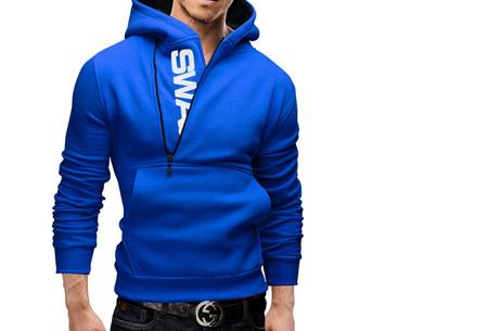 Swag heren sweater met fleece binnenzijde nu slechts €17,95 | Stoere en comfy musthave! blauw