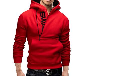 Swag heren sweater met fleece binnenzijde nu slechts €17,95 | Stoere en comfy musthave! rood