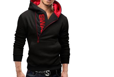 Swag heren sweater met fleece binnenzijde nu slechts €17,95 | Stoere en comfy musthave! zwart/rood