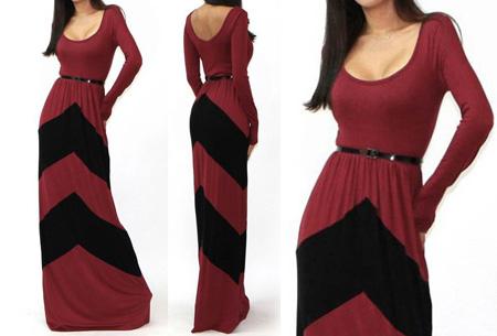 Trendy maxi jurk met lange mouwen nu slechts €18,95 | Steel de show met deze prachtige jurk! wijnrood/zwart