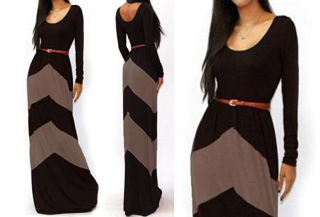 Trendy maxi jurk met lange mouwen nu slechts €18,95 | Steel de show met deze prachtige jurk! zwart/beige