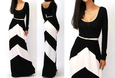 Trendy maxi jurk met lange mouwen nu slechts €18,95 | Steel de show met deze prachtige jurk! zwart/wit