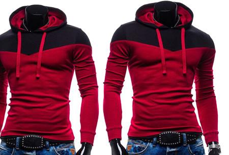 Duocolor heren sweater nu slechts €16,95 | Zacht & comfortabel #6 Wijnrood/Zwart